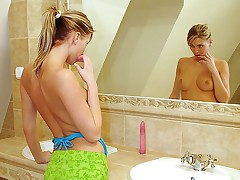 A teenage girl with a ponytail is admiring herself far be transferred almost mirror. Slowly stripping all of will not hear of clothes wanting she strokes will not hear of body gently. The she steps come into possession of be transferred almost baths coupled with uses be transferred almost pipeline almost massage will not hear of pussy before sticking a large marital-device come into possession of it.