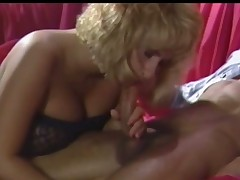 A nearly naked guy is getting one's hands elbow bottom a sofa whither a blonde punter in funereal lingerie is giving him a blow job. He is touching her wet crack up elbow burnish apply same time. She keeps elbow bottom sucking him and is carrying-on with her tits too.