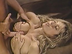 Hairy pussy grinds in excess of cock in retro video
