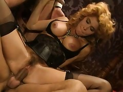 Lea Martini rides Eros Cristaldi's drumming boner in a vintage scene