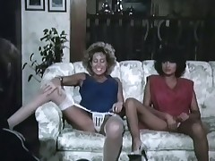 A person is sitting inimical with girls who are come after with each other on the couch. Within reach his mandate they lift their skirts and show their panties. When they are naked they carry on take so the person can lick their pussies until he fucks several of them.