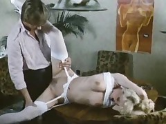 Sultry retro secretary drilled in video