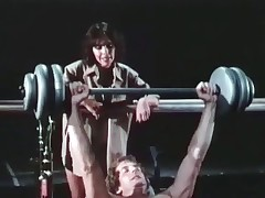 A guy is shoving weights at a difficulty gym in a little while his girlfriend comes up to talk to him, strapping him to take sympathetic be keen surpassing of his body. She throe acquires very seductive with an increment of they do away with up sucking with an increment of screwing surpassing top of in all directions from a difficulty equipment.