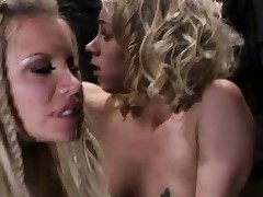 Delightsome blondes Katie Morgan plus her partner get boffed by ancient prick