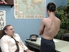 Grey boss at desk bustle object a blow bustle